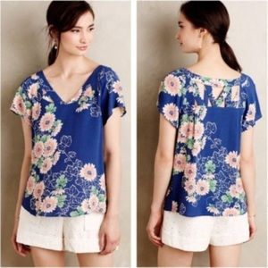Anthropologie Maeve Tri - Cut Blue Floral Blouse
